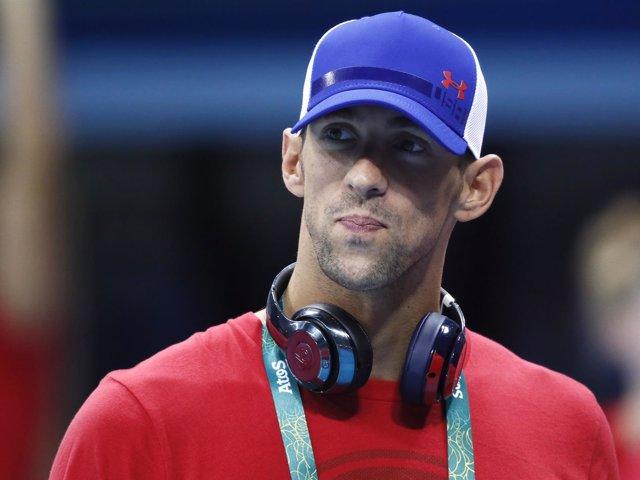 Michael Phelps en su llegada a los Juegos de Río