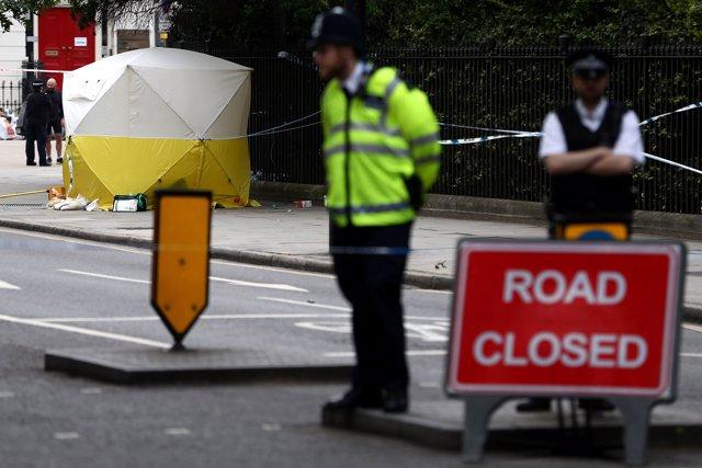 El lugar del ataque con cuchillo en la plaza Russell de Londres