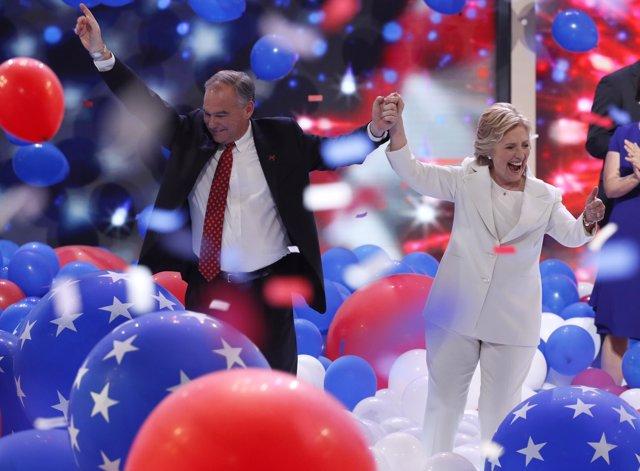 Hillary Clinton y Tim Kaine en la Convención Demócrata