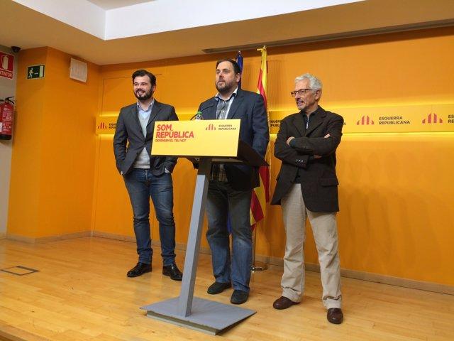 Gabriel Rufián, Oriol Junqueras, Santiago Vidal (ERC)