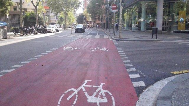 Carril bici entre la calle de Numància y de Marquès de Sentmenat