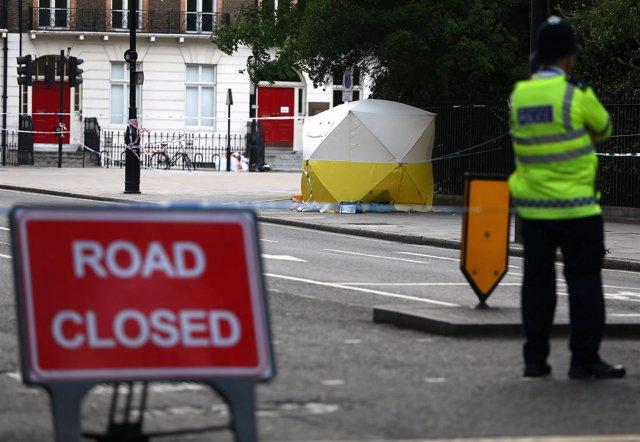 Vigilancia policial en la plaza Russell de Londres