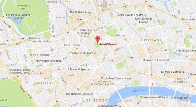 Mapa del lugar del ataque, en la plaza Russell