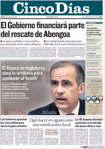 Las portadas de los periódicos económicos de hoy, viernes 5 de agosto