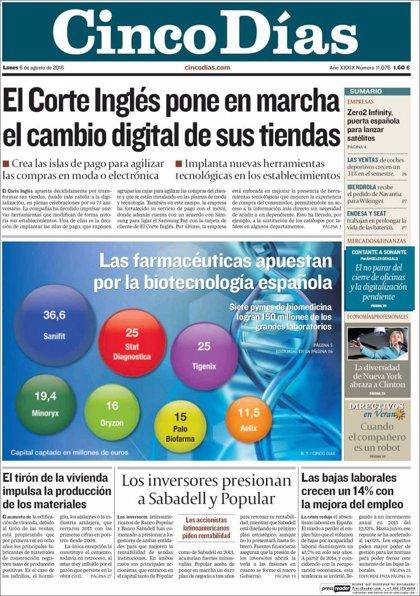 Las portadas de los periódicos económicos de hoy, lunes 8 de agosto