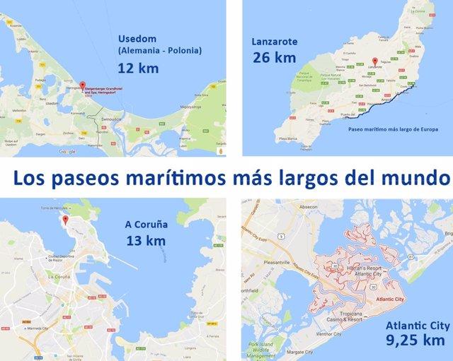 Trazados de los paseos marítimos más largos del mundo