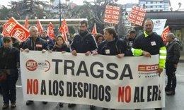 Manifestación del trabajador despedido