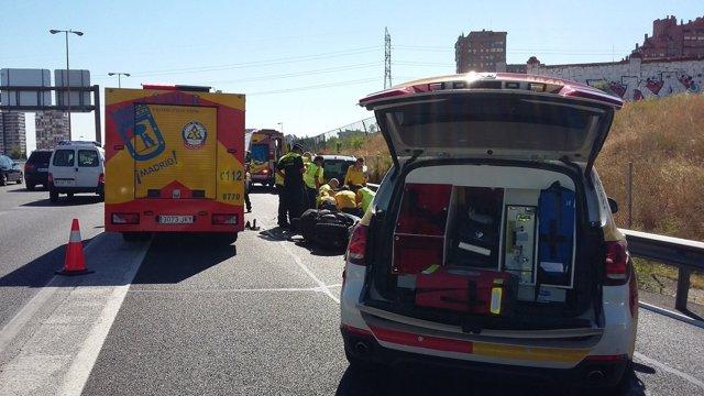 Accidente del motorista fallecido en la M-30.