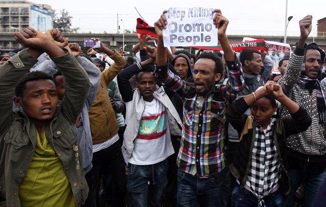 Manifestación contra el Gobierno en Adis Abeba