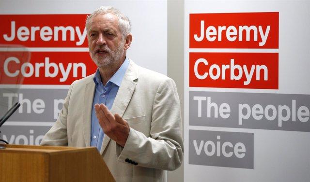 Jeremy Corbyn en el acto de presentación de su campaña como líder laborista