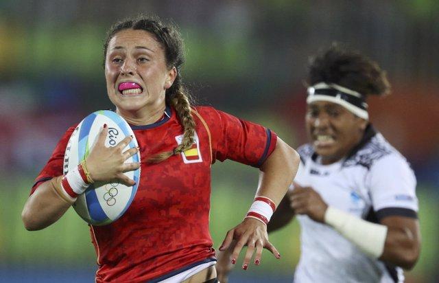 Amaia Erbina, del rugby a 7, ante Fiji en los Juegos de Río