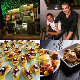 Collage de la fachada del restaurante, Santos y Alcaraz y de algunos platos