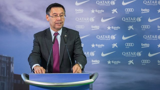 Josep Maria Bartomeu, presidente del FC Barcelona en rueda de prensa