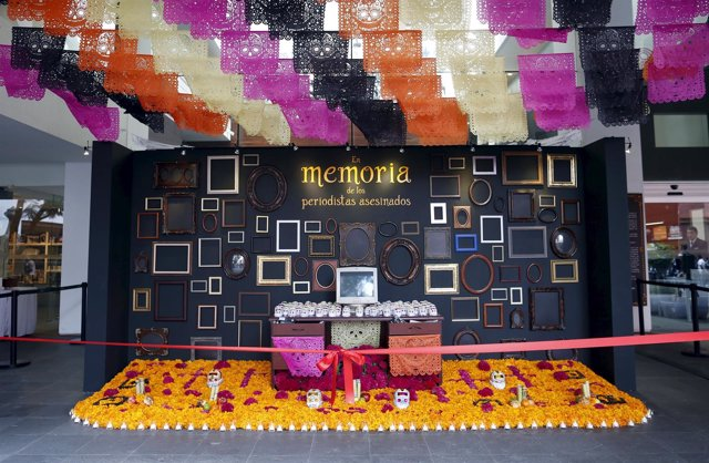 An altar for Day of the Dead in memory of Mexico's killed and disappeared journa