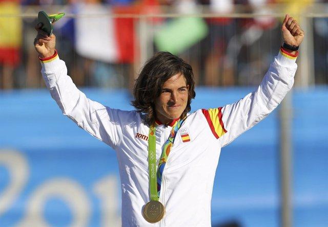 Maialen Chourraut celebra su oro olímpico en K-1 en Río