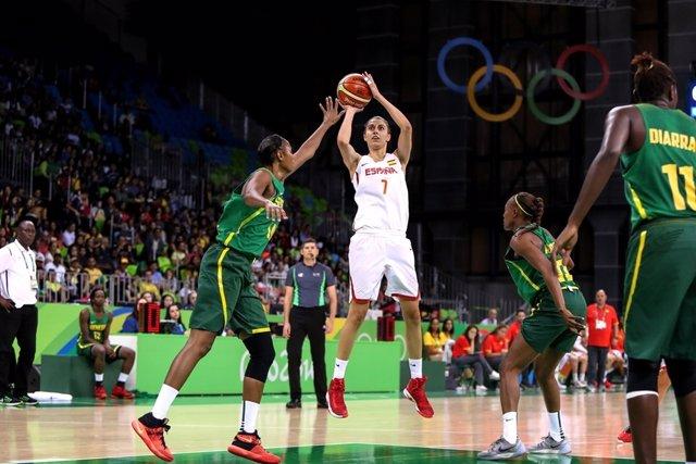 Alba Torrens en el España - Senegal de los Juegos Olímpicos
