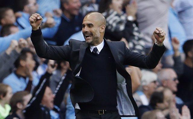 Pep Guardiola en su debut con el Manchester City