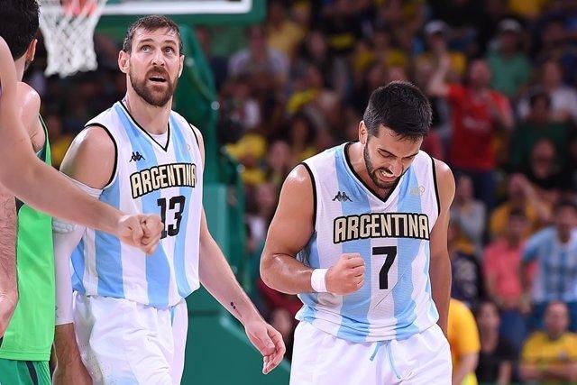 Campazzo y Nocioni con la selección argentina