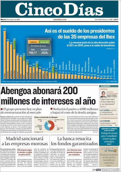 Las portadas de los periódicos económicos de hoy, martes 16 de agosto
