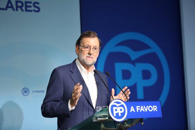 Mariano Rajoy en rueda de prensa tras el Comité Ejecutivo del PP
