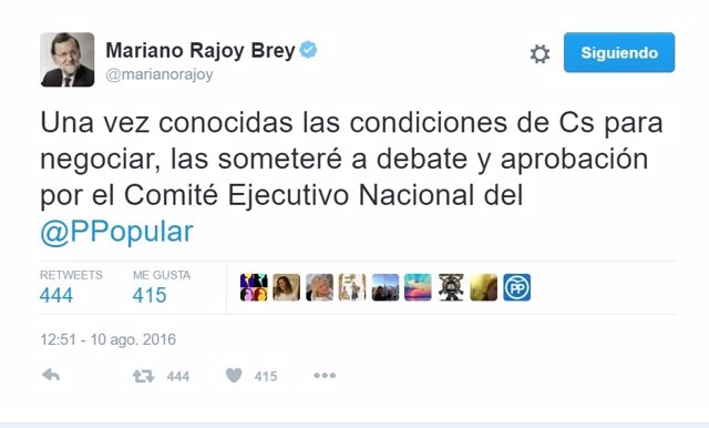 Rajoy se compromete a someter a aprobación las condiciones de Ciudadanos