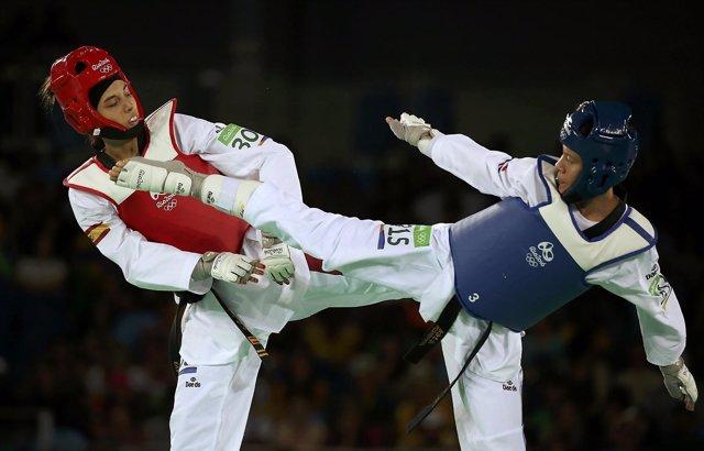 Eva Calvo en su primer combate en Río 2016