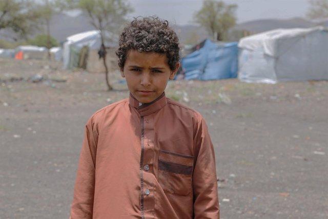 Elias Jameel, de 14 años, en un campo para desplazados en las afueras de Saná