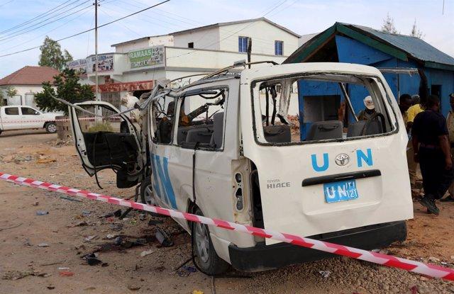 Una furgoneta de la ONU después de una explosión en Somalia