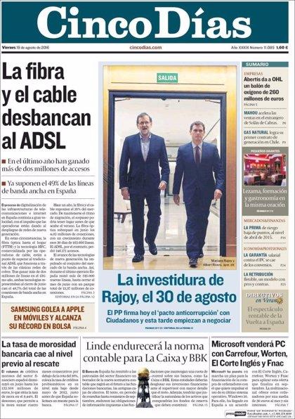 Las portadas de los periódicos económicos de hoy, viernes 19 de agosto