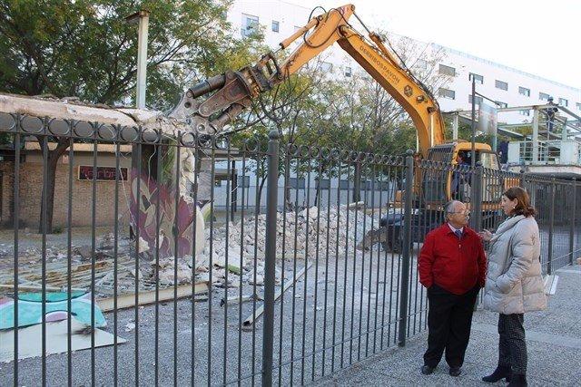 Demolición de la Pérgola en 2013.