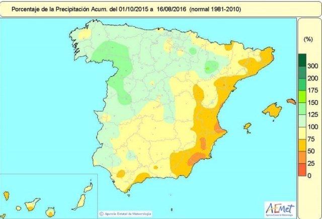 Mapa de precipitaciones desde el 1 de octubre de 2015 al 16 agosto 2016