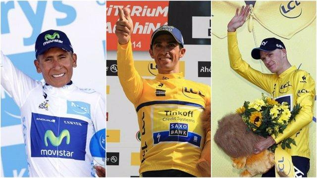 Quintana, Contador y Froome en el Tour de Francia