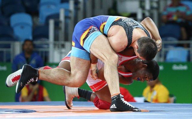 El luchador español Taimuraz Friev en los Juegos de Río