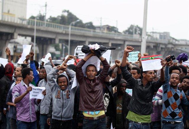 Protesta antigubernamental en Addis Abeba