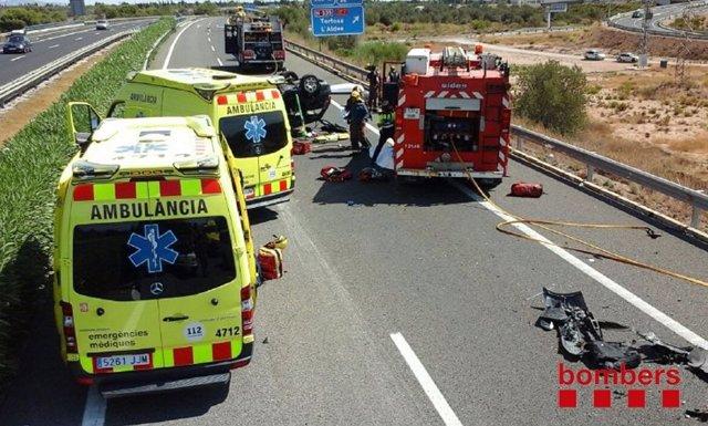 Accidente en la AP-7 en L'Aldea (Tarragona)