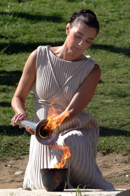 ANCIENT OLYMPIA, GREECE - NOVEMBER 21:Maria Nafplotou, who plays the role of hig