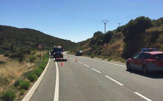 Accidente de moto ocurrido este domingo.