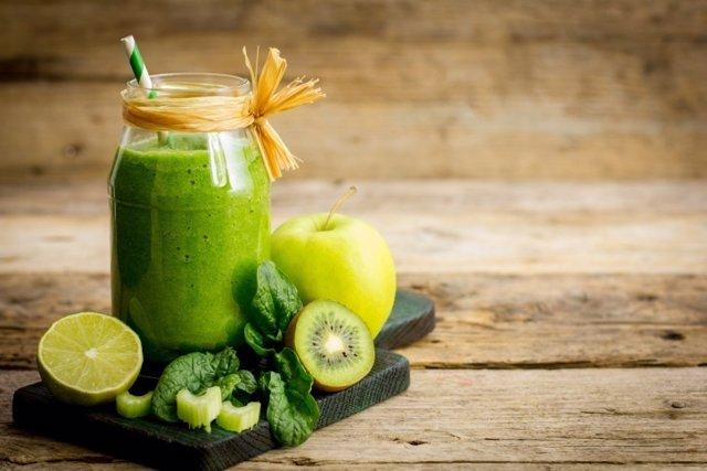 Zumo, frutas, verduras, lima, manzana