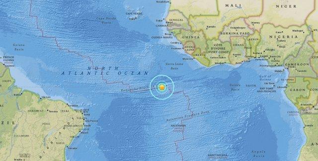 Registrado un terremoto de magnitud 7,4 en el Atlántico, cerca de la Isla de Asc