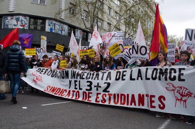 Manifestación de estudiantes en Madrid