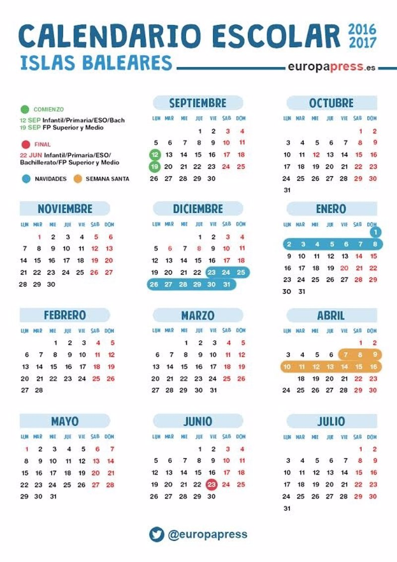 Calendario Escolar Para El Curso 2016 2017