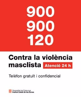 Cartel del servicio telefónico de atención a víctimas de violencia machista
