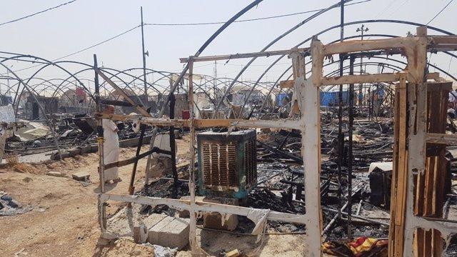 Incendio en un campo para desplazados internos en Irak