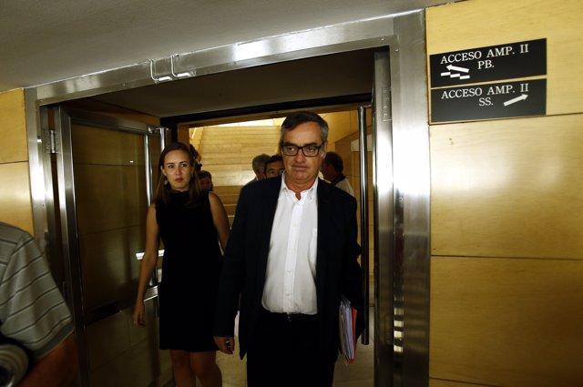 El equipo de negociación de Ciudadanos, con José Manuel Villegas, en el Congreso
