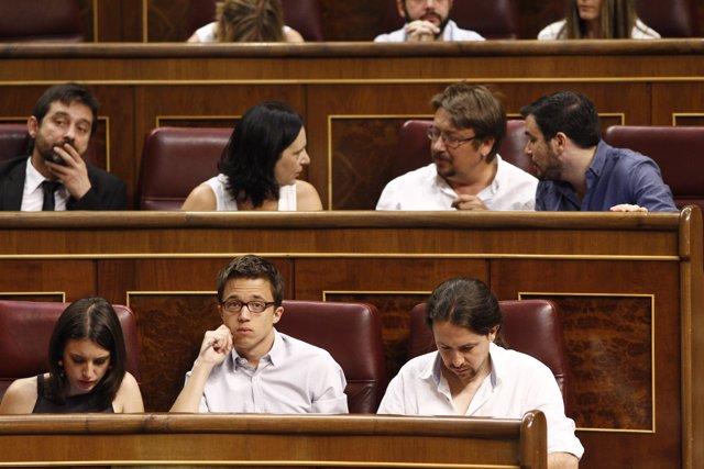 Montero, Errejon y Pablo Iglesias en el Congreso