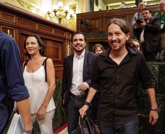 Carolina Bescansa, Alberto Garzón y Pablo Iglesias