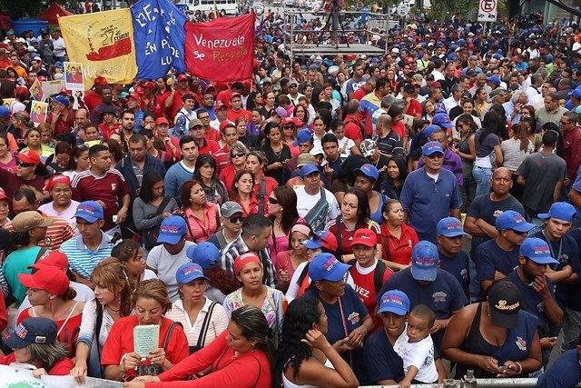 Chavistas marcha antiimperialista en Caracas Venezuela