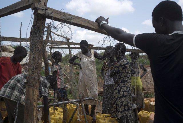 Mujeres desplazadas en Sudán del Sur en un complejo de la ONU