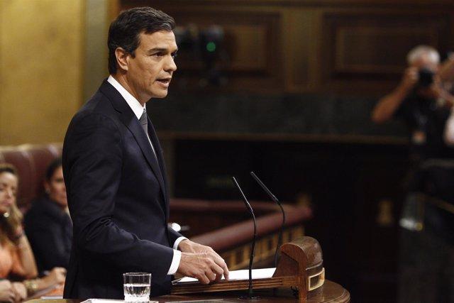 Pedro Sánchez en el discurso de investidura