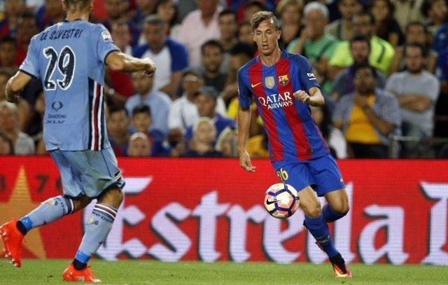 Juan Cámara jugando con el Barcelona